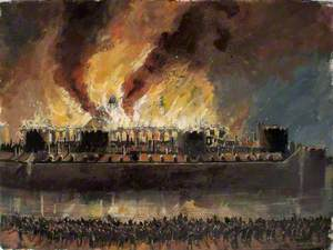 Reconstructed View of the Tower of London with the Grand Storehouse on Fire, 1841