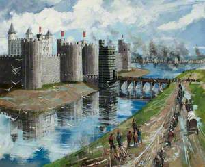 Reconstructed View of the Tower of London, Henry III's New Curtain Wall and Painted Gate, 1240