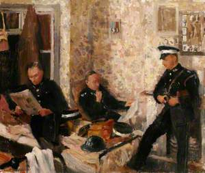 First Aid Post, with Three St John Ambulance Brigade Men in a Domestic Interior