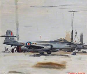 Meteor 8 of 54 Squadron, in Hangar at Odiham