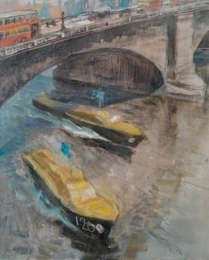Two RAF Marinecraft Passing below a London Bridge