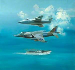 Harrier GR Mk 1 and Sea Harrier over HMS 'Hermes'
