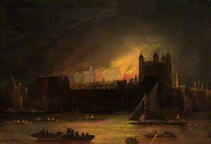 The Fire in the Tower of London (1841), from the South Bank of the Thames