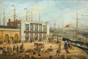 'Malacca': Departure of Messrs Green's Frigate 'Malacca' for Bombay from Brunswick Pier, Blackwall, 26 December 1849