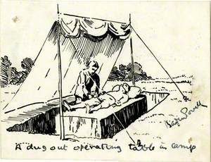 A Dugout Operating Table in Camp