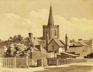 Dagenham Parish Church from the Rear of the Cross Keys Inn