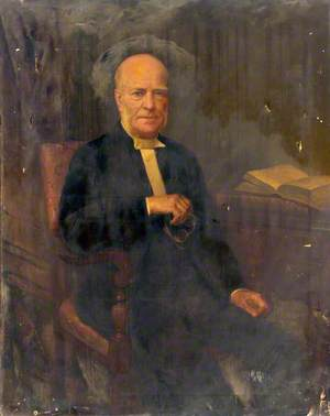 Portrait of a Seated Elderly Man Holding Glasses