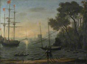 Classical Seaport at Sunset