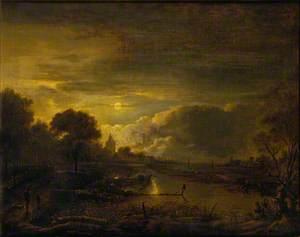 River Scene by Moonlight