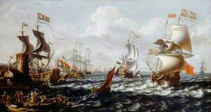 Ships in Rough Water off a Mediterranean Port