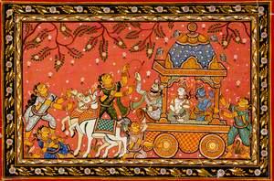 Krishna and Balarama in a Chariot on the Way to Mathura