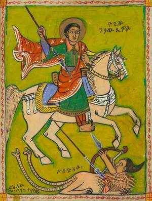 Rider on a White Horse Fighting Against a Mythical Creature