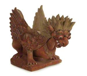 Wooden Architectural Base for Post, Sendi, in Shape of a Winged Lion.