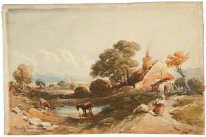 Countryside Scene with a Cottage and a Horse*