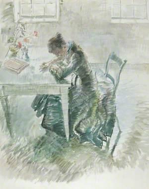 Woman Writing in a Green Dress