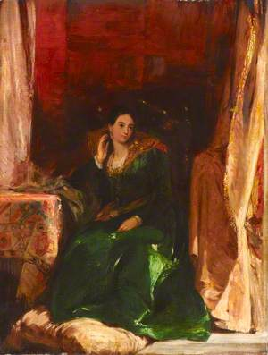 Lady in a Green Dress, Seated in an Alcove