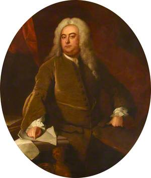 Three-Quarter-Length Portrait of a Seated Gentleman Wearing a Wig and Brown Coat