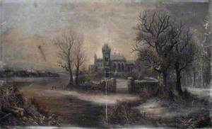 Winter Scene with a House and Woodland