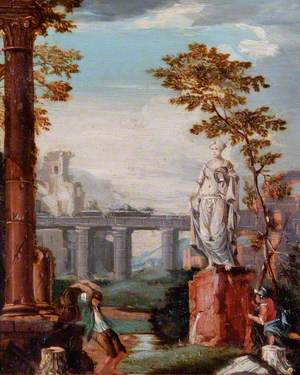 Ruined Buildings with a Statue (Italianate Landscape)
