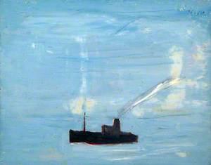 Blue Sea and Ship