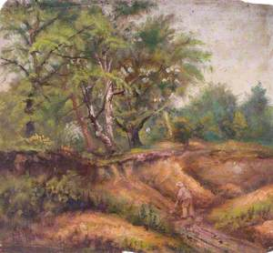 Landscape with Trees and a Man at Work