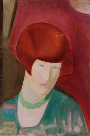 Woman with Red Hair and Green Necklace