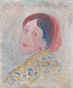 Woman with a Printed Gown and a Red Earring