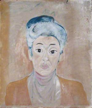 Woman with Blue-White Hair and Light Brown Coat