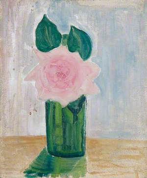 Green Vase with a Pink Flower