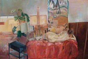 Female Nude Reclining in an Artist's Studio