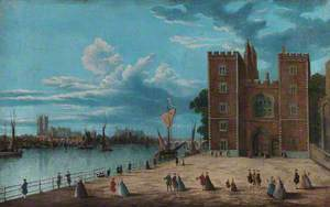 Lambeth Palace with Westminster Abbey beyond, London