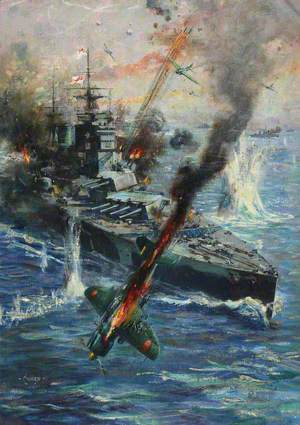 Aircraft Attack British Battleship