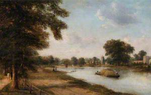 Twickenham, Middlesex, Showing the Church, Ferry, Orleans House and Eel Pie Island