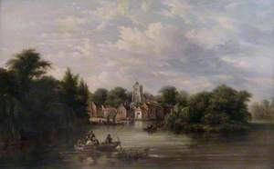 Twickenham Church, Embankment and Eel Pie Island, Middlesex