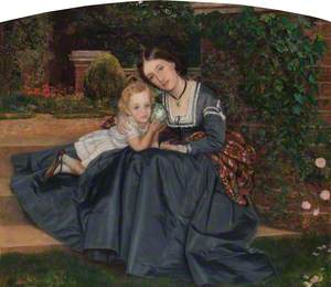 Mother and Child Seated in a Garden