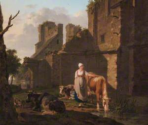 Landscape with a Milkmaid and Cattle by a Pool
