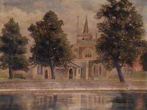 Carshalton Church, Surrey, across the Ponds