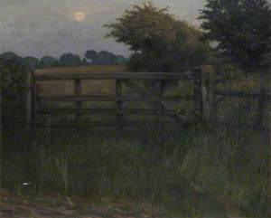A Field Gate in Moonlight