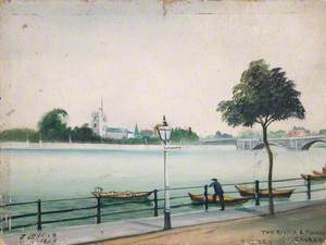 The River and Fulham Church, Putney, London
