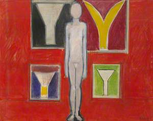 Figure with a Wall of Paintings (Red)