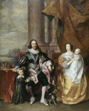 Charles I (1600–1649), and Henrietta Maria (c.1609–1669), with Their Two Eldest Children, Prince Charles (1630–1685), and Princess Mary (1631–1660)