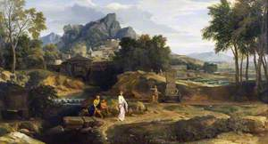 Classical Landscape with Figures near a Fountain (Hillside Town by a River beyond)