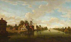 River Scene with Mill