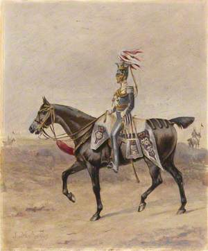 A Mounted Officer of the 17th Regiment of (Light) Dragoons (Lancers), c.1825