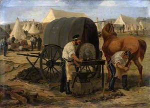 Farriers of the 17th Regiment of (Light) Dragoons (Lancers) Shoeing a Horse from a Mobile Forge, Chobham Camp
