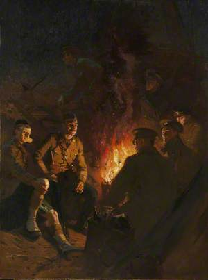 Somewhere at the Front, Soldiers Around a Camp Fire at Night, Western Front