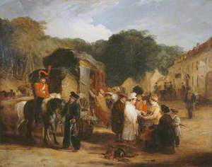 The Village of Waterloo (with travellers purchasing the relics that were found in the field of battle), 1815