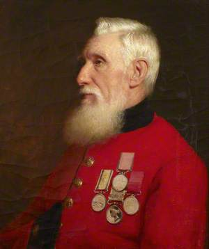 A Chelsea Pensioner Wearing a Scarlet Coat and Medals