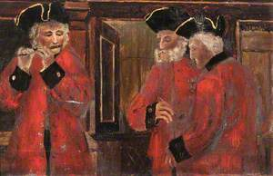 Three Chelsea Pensioners in the Ward