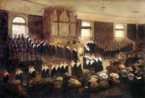 Chapel Interior with a Congregation, Liverpool Blue Coat School